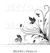 Vector of Black and White Floral Corner Border Design Element Version 6 by MilsiArt