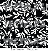 Vector of Black and White Floral Vines Background Pattern Version 8 by BestVector