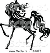 Vector of Black and White Horse by Vector Tradition SM