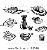 Vector of Black and White Japanese Food and Dishes by Vector Tradition SM