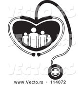 Vector of Black and White Medical Stethoscope Forming a Heart Around a Family by Lal Perera
