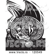 Vector of Black and White Resting Fire Breathing Dragon Woodcut by Xunantunich