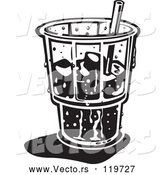 Vector of Black and White Retro Ice Cold Glass with a Straw and Ice by Andy Nortnik
