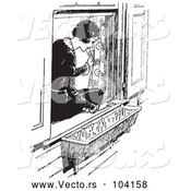 Vector of Black and White Retro Lady Sitting in a Window Sill and Looking at Flowers by Picsburg