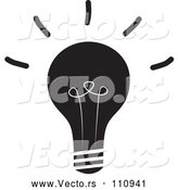 Vector of Black and White Shining Light Bulb by ColorMagic