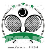 March 21st, 2018: Vector of Black and White Tennis Ball over Crossed Rackets in a Circle with Stars and a Blank Green Banner by Vector Tradition SM