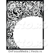 Vector of Black and White Vines and Scrolls Border Around Circle Blank Copyspace Design by OnFocusMedia