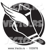 Vector of Black and White Winged Track and Field Shoe over a Circle by Johnny Sajem