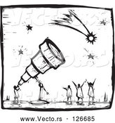 Vector of Black and White Wood Carving Styled Astronomer Using a Telescope to View Comets and Stars by Xunantunich