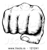 Vector of Black and White Woodblock Fist by AtStockIllustration
