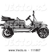 Vector of Black and White Woodcut Antique Model T Car by Xunantunich
