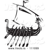 Vector of Black and White Woodcut Dragon Viking Ship with Oars by Xunantunich