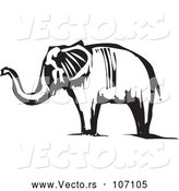 Vector of Black and White Woodcut Elephant by Xunantunich