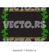 Vector of Black Background with Bamboo Border and Green Vines by Bpearth