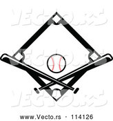 Vector of Black Baseball Diamond with a Ball and Crossed Bats by Vector Tradition SM