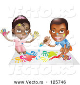 Vector of Black Boy and Girl Hand Painting and Painting Together by AtStockIllustration