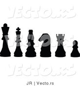 Vector of Black Chess Pieces by JR