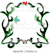 Vector of Black Floral Vines Border Design with Love Hearts and Butterflies by Bpearth