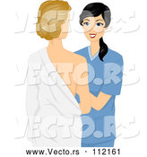 Vector of Black Haired Female Doctor Examining a Patient's Breasts by BNP Design Studio