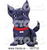 March 24th, 2018: Vector of Black Happy Scottish Terrier Dog Sitting and Wearing a Red Collar by Pushkin