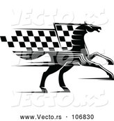 Vector of Black Horse with a Checkered Racing Flag Mane by Vector Tradition SM