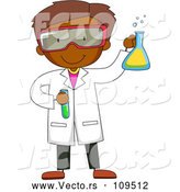 Vector of Black Male Scientist Holding a Flask and Test Tube by Graphics RF