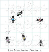 Vector of Black Numbers Ants on Graph Paper Following Dotted Lines by Leo Blanchette