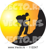 Vector of Black Silhouetted Man Hiking a Mountain Against a Sunset Circle by Lal Perera