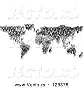 Vector of Black Silhouetted People Crowding Together and Forming the Global Continents by AtStockIllustration