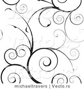 Vector of Black Swirly Vines Background Pattern Design by Michaeltravers
