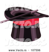 Vector of Black Top Hat with a Red Band and Magic Wand by Pushkin