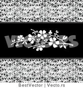 Vector of Black Vines and White Blossoms in the Center - Web Design Background by BestVector