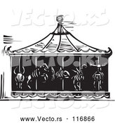 Vector of Black Woodcut Carousel of Death with Animal Skeletons by Xunantunich