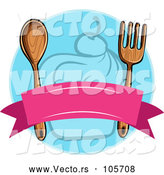Vector of Blank Banner with a Wood Fork and Spoon over a Blue Cupcake Circle by Graphics RF