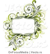 Vector of Blank Copyspace Bordered by Green Vines and Beige Splatters by OnFocusMedia