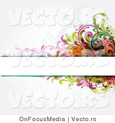Vector of Blank Copyspace Box Borderd by Colorful Vines and Scrolls over off White Background Design by OnFocusMedia
