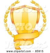 Vector of Blank Gold Banner Around the Bottom of a Shiny Shield with Laurels by Elaineitalia