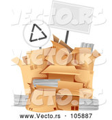 March 28th, 2018: Vector of Blank Sign over a Pile of Boxes with Recycleable Materials by BNP Design Studio