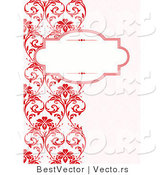 Vector of Blank Text Box over Left Border Designed with Red Vines by BestVector