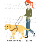 Vector of Blind White Lady Walking with a Yellow Labrador Guide Dog by Rosie Piter