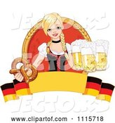 Vector of Blond Bar Maiden with Beer and a Soft Pretzel over a German Banner by Pushkin