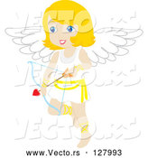 Vector of Blond Female Cupid with a Heart Arrow by Rosie Piter