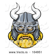 Vector of Blond Male Viking Warrior Face Wearing a Horned Helmet by AtStockIllustration