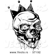 Vector of Bloody Joker Skull Wearing King's Crown - Black and White Line Art by Lawrence Christmas Illustration