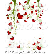 Vector of Blooming Love Hearts Background Vine Design by BNP Design Studio