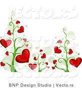 Vector of Blooming Red Love Heart Vines Background Border Design by BNP Design Studio