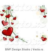 Vector of Blooming Red Love Hearts on Vines - Background Design by BNP Design Studio