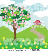Vector of Blossoming Tree near a House in the Spring by Kaycee