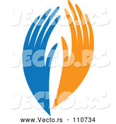 Vector of Blue and Orange Human Hands by ColorMagic