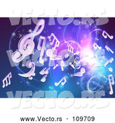 Vector of Blue and Purple Background of Bright Neon Lights, Flares and Floating Music Notes by AtStockIllustration